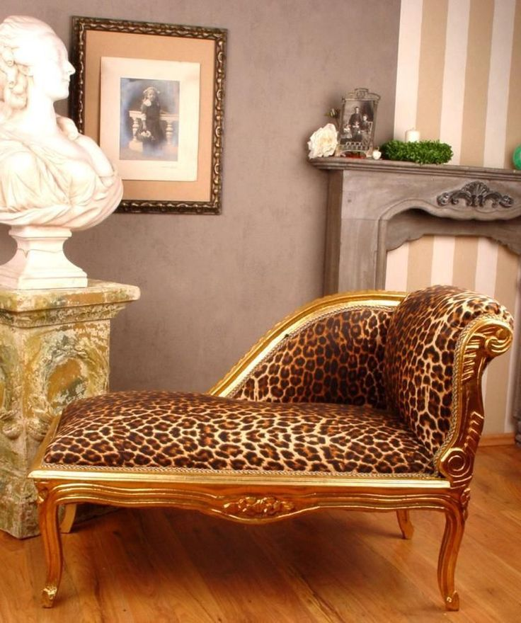 Meridienne Style Louis Xv Empire En Bois Dore Leopard Canape Banquette In Art Antiquit S