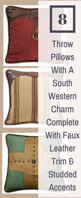 8 throw pillows with a Southwestern charm complete with faux leather trim and studded accents. #throwpillow #rustic #country #texan #homedecor #decorative pillows #christmas