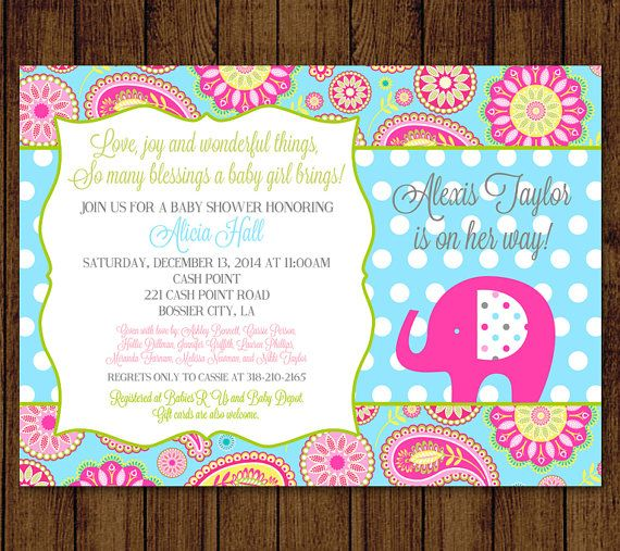 Elephant Baby Shower Paisley Baby Shower Invitation by andyneal331