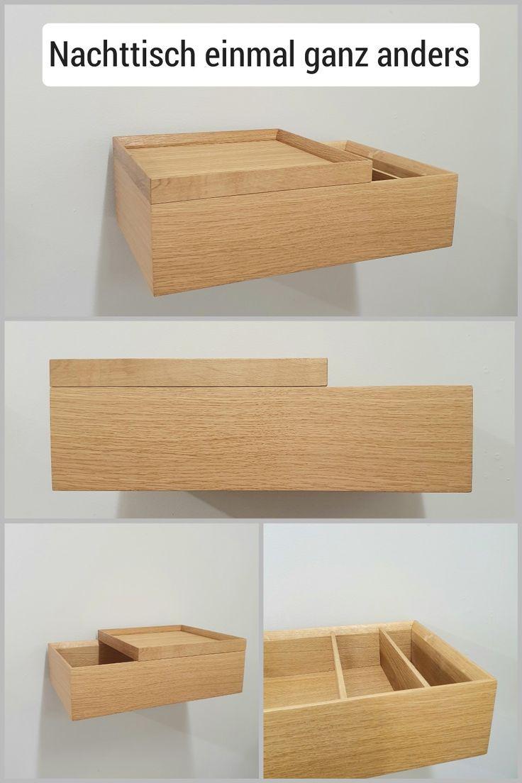 Schmaler Schwebender Nachttisch Aus Eichen Holz Moderner
