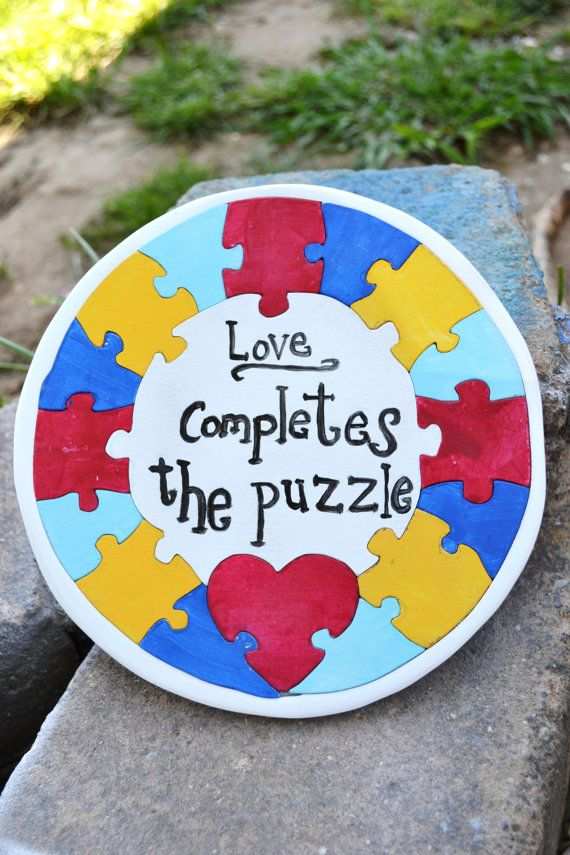 ORIGINAL DESIGN COPYRIGHTED! Autism Awareness Love PUZZLE wreath design by HeatherLeesCrafts FOR SALE ON ETSY $25