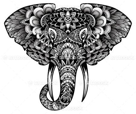 Tribal Elephant Head Tattoo Design in Black Ink ❥❥❥ https://tattoosk.com/elephant-head-tattoo