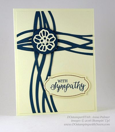 handmade sympathy card ... navy and vanilla ... cross created with wavy lines of Swirly Bird dies ... simple and elegant ... Stampin' Up!
