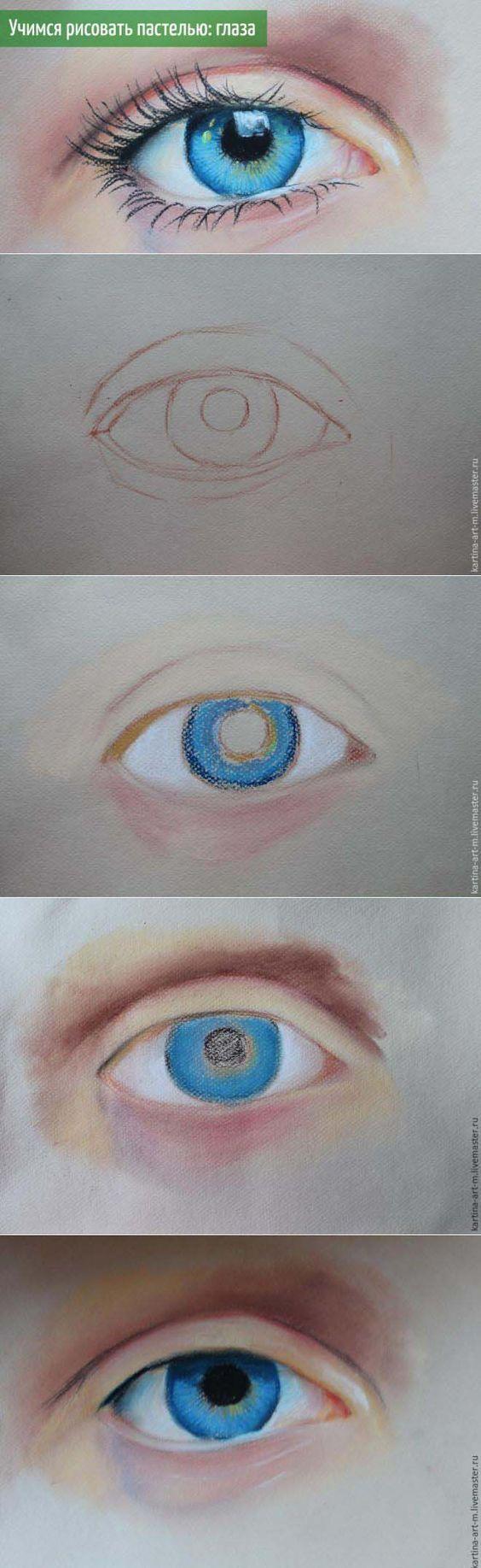 Рисуем глаз пастелью #painting #drawing #crayon #tutorial