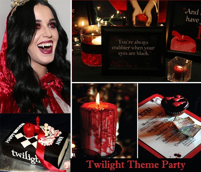 #Twilight #theme #birthday party  A twilight party starts with red color, white lights and candles. Take audio soundtracks of Twilight Saga from market and play it.