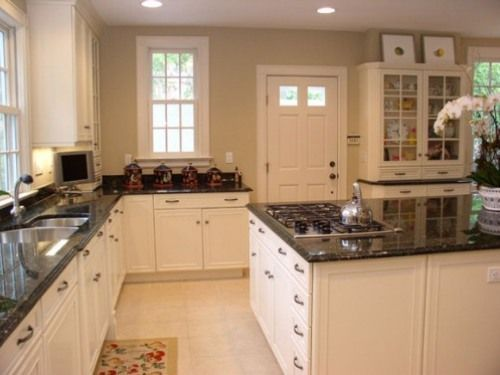 tropical brown granite with white cabinets | White Kitchen Cabinets with Brown Granite Countertop