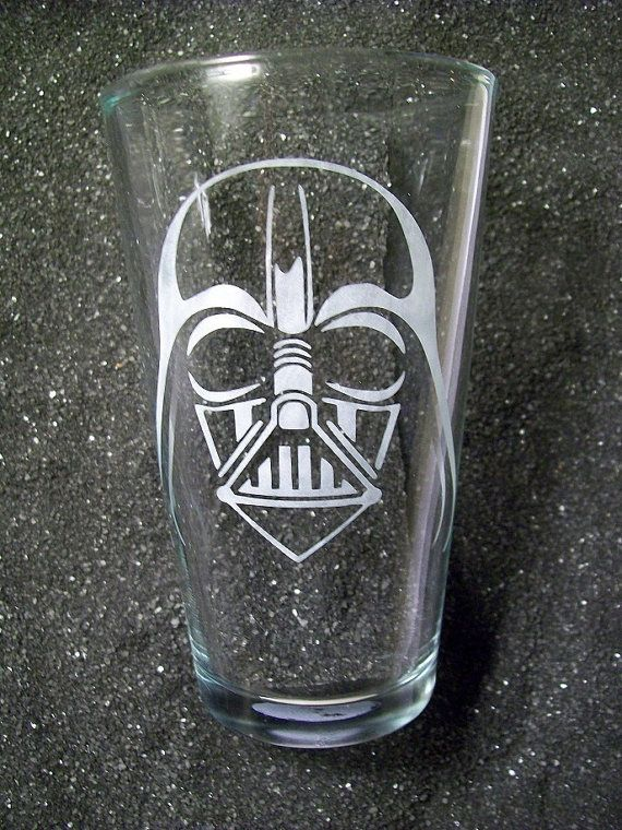 Star Wars Darth Vader etched pint beer glass by CoventryDecor