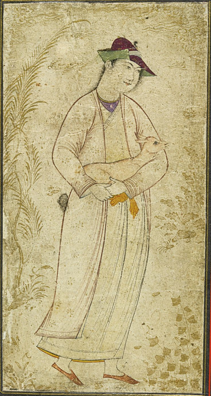 Two drawings: a man holding a fawn, and a dervish holding a dragon-form kashkul, the latter signed by Reza-i 'Abbasi, Persia, Safavid, Isfahan, 17th century | lot | Sotheby's