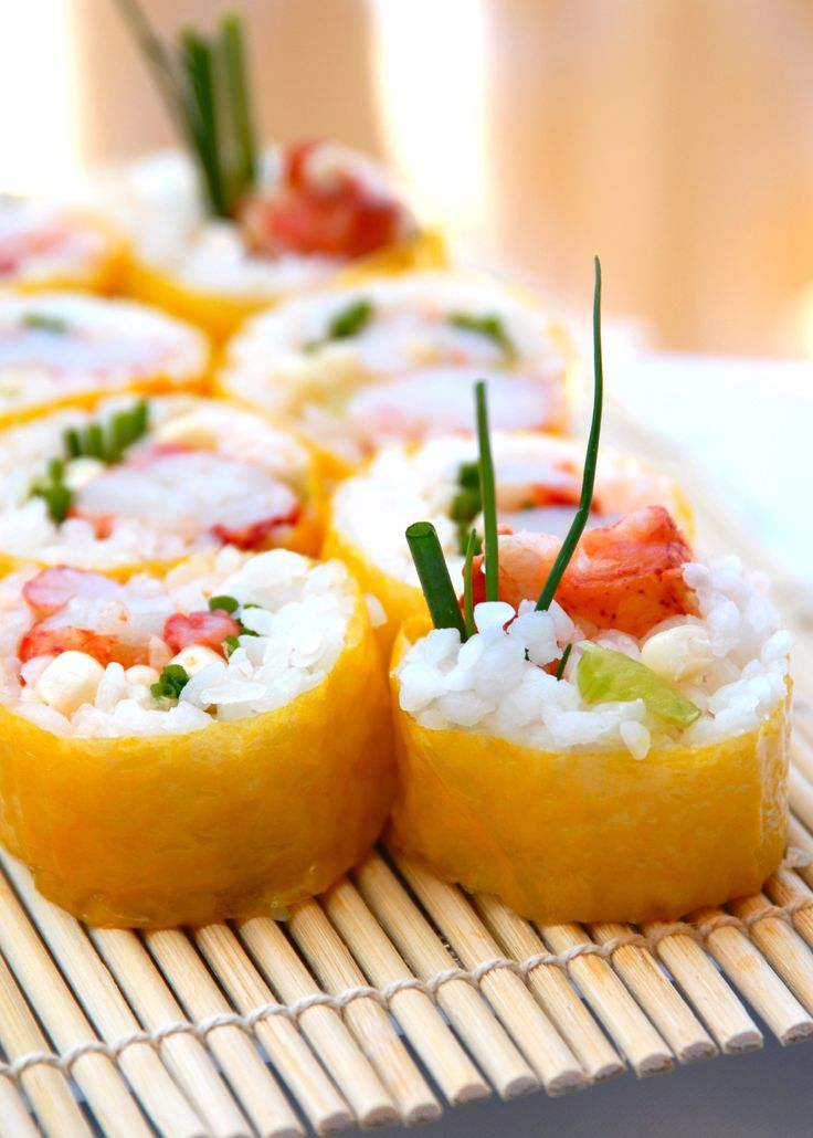 """A beautiful sushi roll for summer- """"Lobster Love Roll"""" with Sweet Corn Wrap from NewGem Foods.com"""