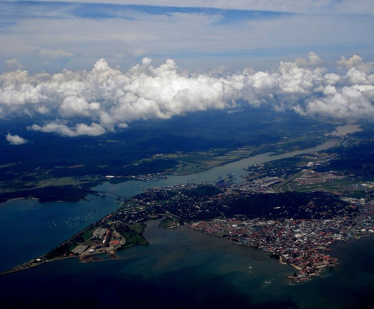 The Panama Canal and Lake Gatun from above.