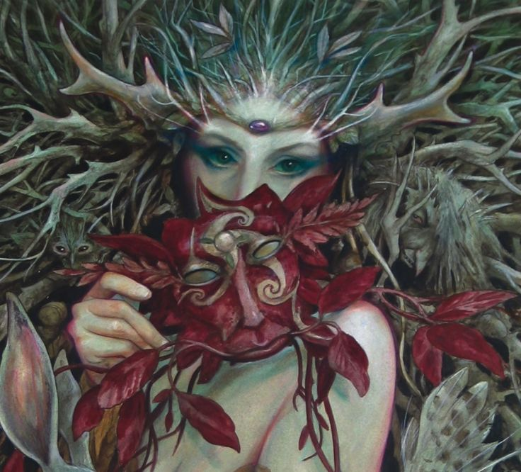I never realized how many masks Brian Froud has used in his art  This helps a lot with my wedding inspiration