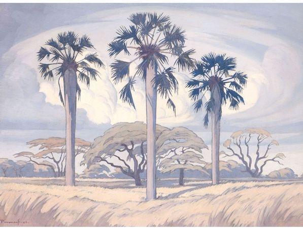 Jacob Hendrik Pierneef; Palm Trees near Trichardsdal