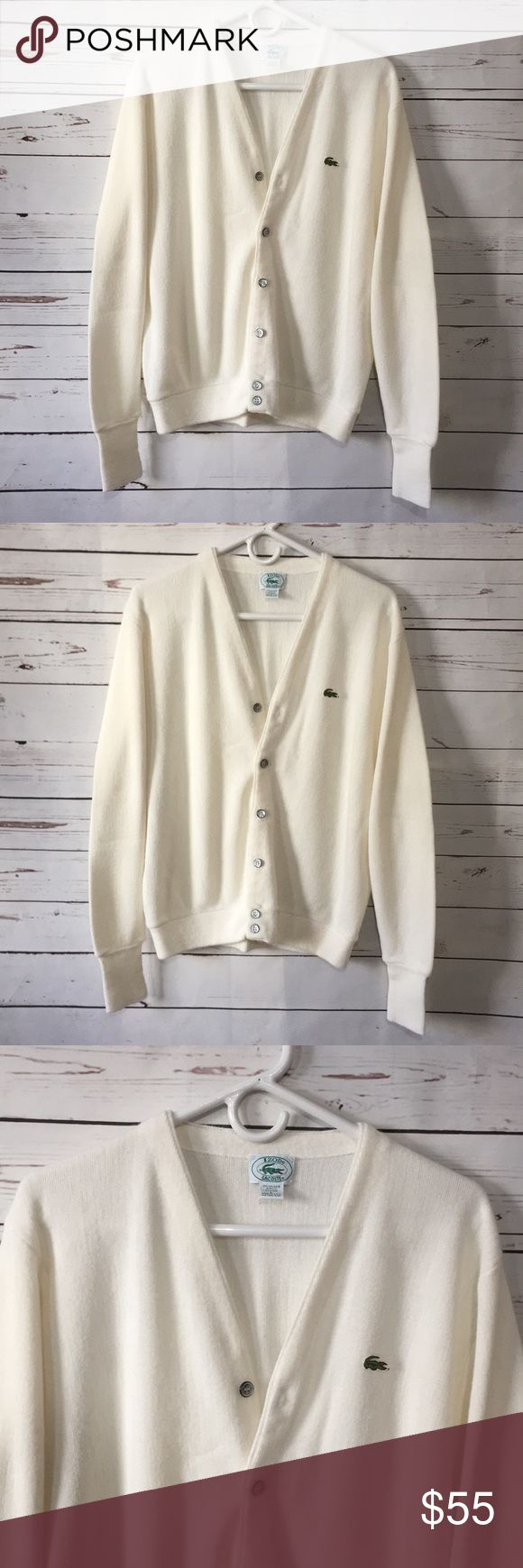 Vintage Lacoste cardigan sweater Made in USA! Excellent condition! Off white. Lacoste Sweaters Cardigans
