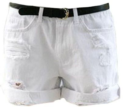 $15, White Ripped Denim Shorts: ChicNova Oversize Distressed White Denim Shorts With Roll Up Hem. Sold by ChicNova. Click for more info: https://lookastic.com/women/shop_items/65637/redirect