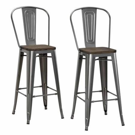 Elegant Dorel Home Products Luxor Metal Counter Stool With Wood Seat, Set Of Gun  Metal
