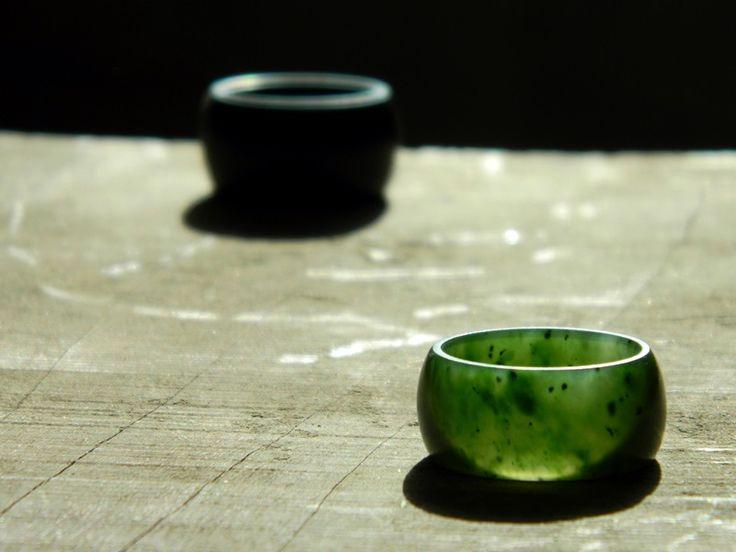 Jade Rings  Black - Wyoming Jade Green - Canadian Jade (Yukon)  Carved by Aaron Brown