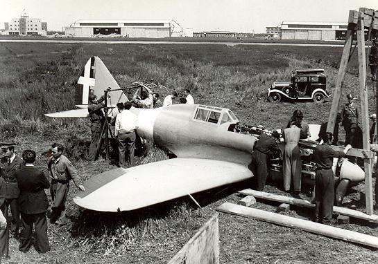 Reggiane RE.2005 - Bad landing test