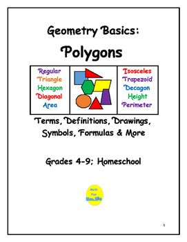 This 40-page booklet lists all geometry terms relating to polygons introduced in elementary and middle school.  There are:  28 Terms Relating to All Polygons  23 Terms Relating to Triangles  12 Terms Relating to Quadrilaterals    9 Terms Relating to Other PolygonsDefinitions, Symbols, Formulas for Area and Perimeter, and Drawingsare all included in this booklet.