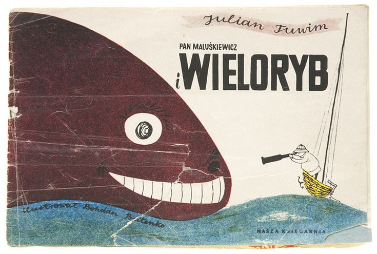 Bohdan Butenko, 1956 (Tuwim's Pan Maluskiewicz).  Love how this composition balances an enormous, seemingly crazed, black sea creature with a tiny little man on a tiny little boat, who's not scared at all.