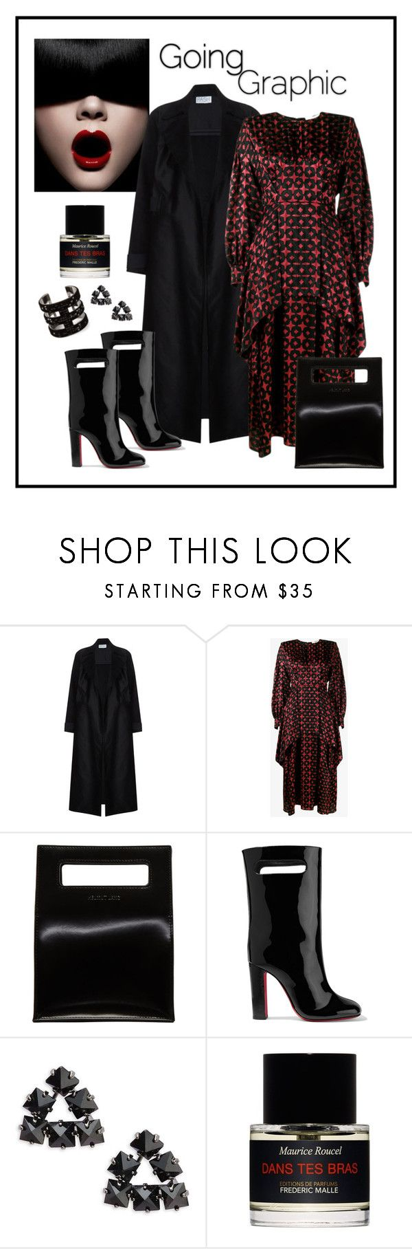 """""""Fendi Black & Red Printed Silk Dress Look"""" by romaboots-1 ❤ liked on Polyvore featuring Fendi, Helmut Lang, Christian Louboutin, ABS by Allen Schwartz and Frédéric Malle"""