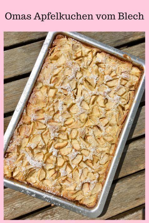 Apfelkuchen vom Blech: Blechkuchen mit einem saftigen Rührteig, schnell zu back …  – Kuchen, Torten, Backrezepte