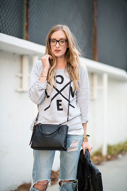 [sweater: zoe karssen / jeans: ag / shoes: joie / bag: coach / glasses: warby parker / jacket: zara]