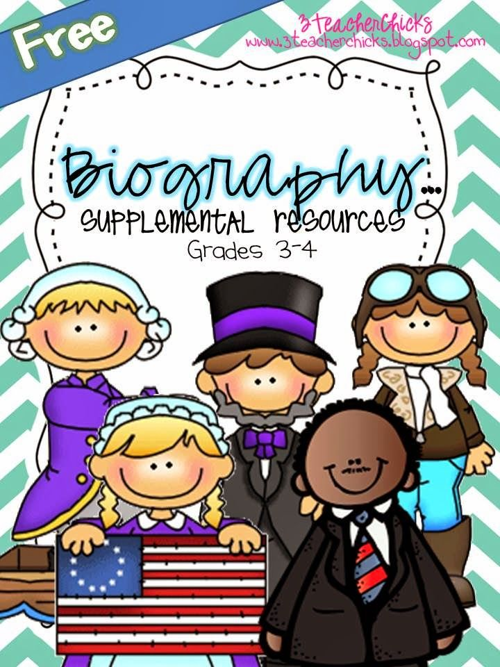 Biography Resources for Free! Anchor charts, book ideas, and graphic organizers for lesson design and assessments!  Cool stuff!