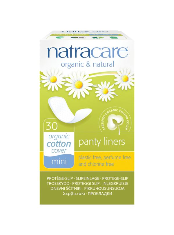 Natracare Organic Mini Panty Liners £1.79 These liners can be used daily as a protective liner especially if your underwear is made from modern synthetic material and you want to be sure that you have only organic cotton next to your skin. This mini breathable organic cotton panty liner is plastic-free and totally chlorine free and over 99% biodegradable and compostable. These liners are also useful for extra protection when using tampons, when travelling or if using prescriptive creams.
