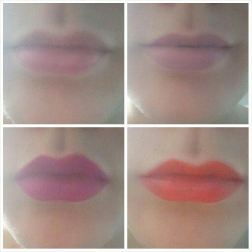Matte lipsticks: 1 none, 2 elf - tea rose,  3 city color - jazmin,  4 maybelline - electric orange