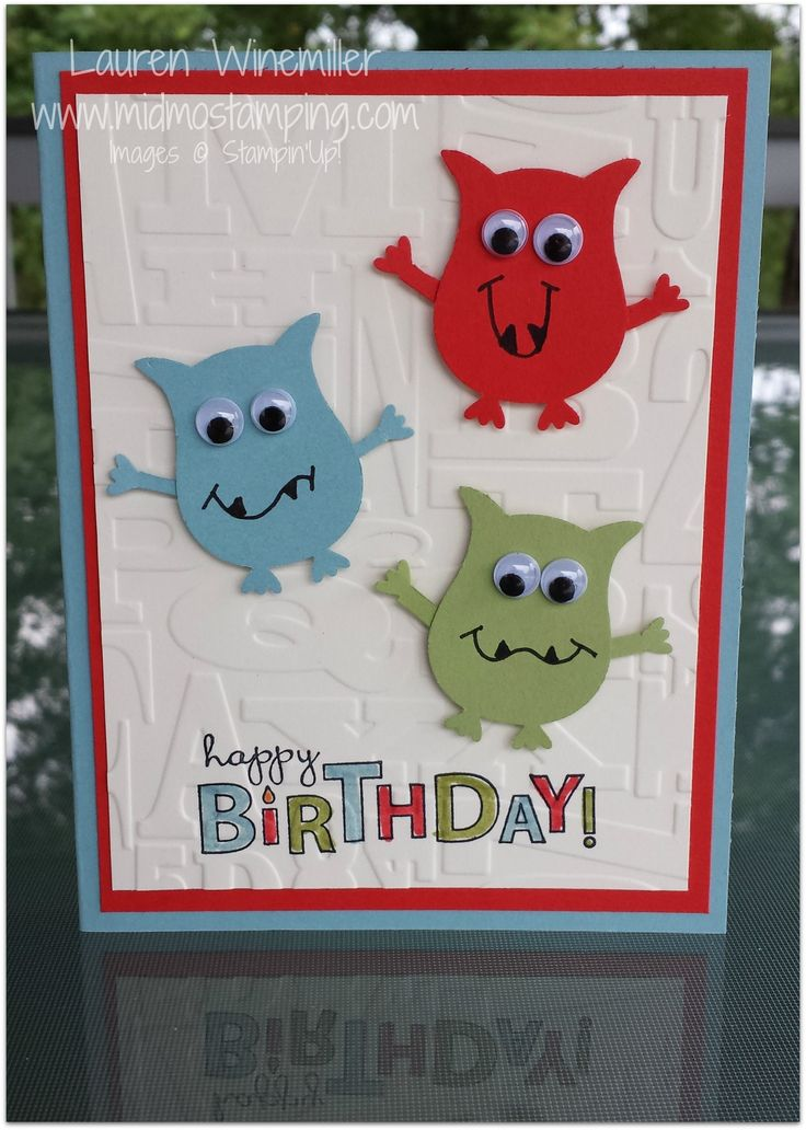 Stampin' Up! owl builder punch, bring on the cake, kids monster birthday card www.midmostamping.com