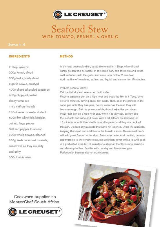 Le Creuset Recipes - Seafood Stew with Tomato, Fennel & Garlic