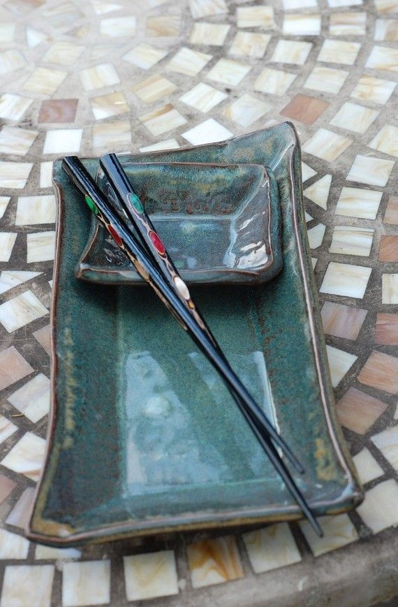 Two Dish Sushi Set in Slate Blue Made to Order by pagepottery, $28.00