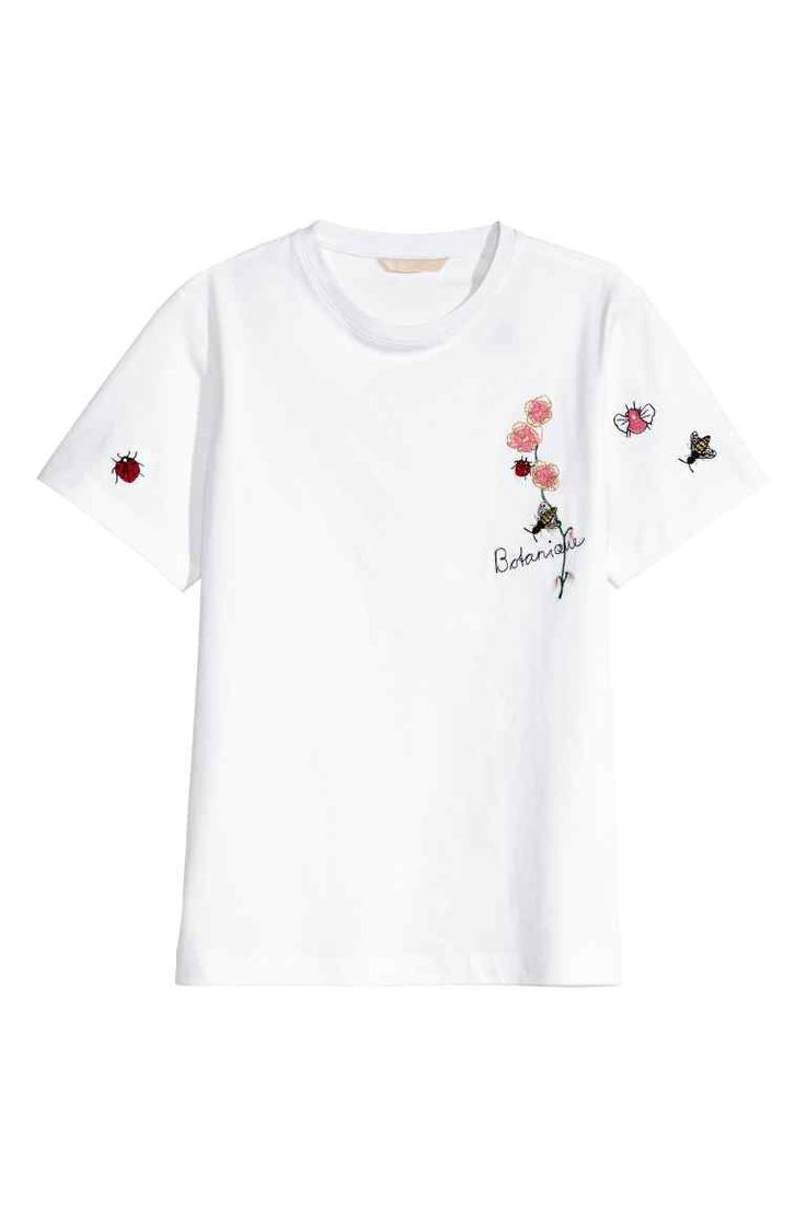 T-shirt with embroidery - White - Ladies | H&M 1