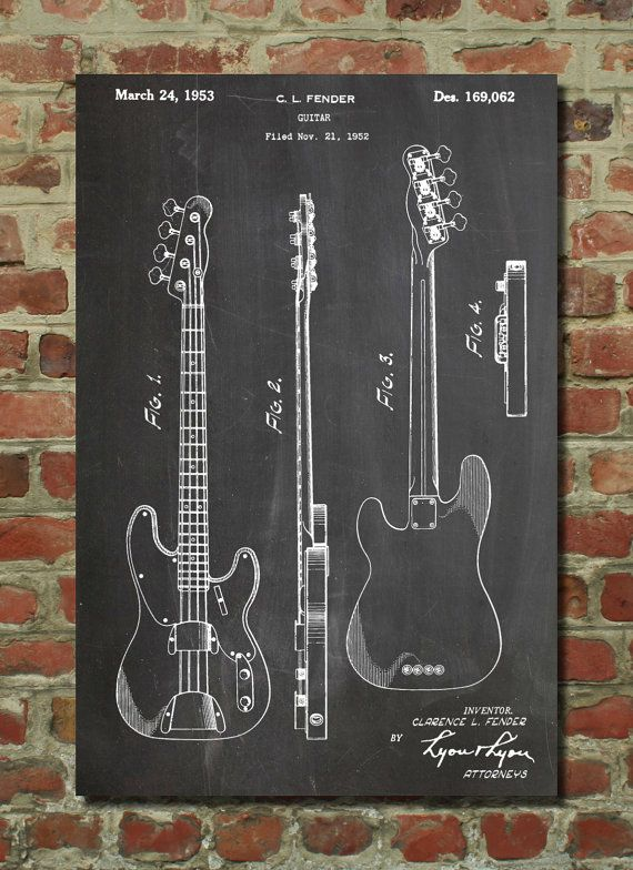 Fender Bass Guitar Patent Wall Art Poster    This patent poster is printed on 90 lb. Cardstock paper. Choose your paper color. These are awesome