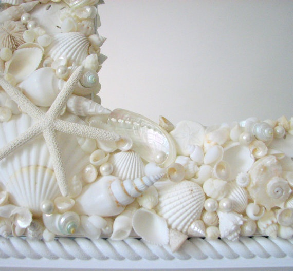 Sea Shell Mirror/for my smaller mirror,need all sizes of white shells and pearls