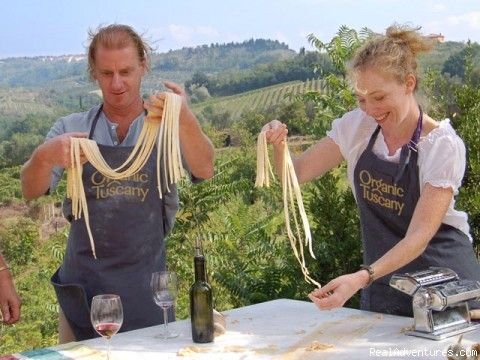 "A week-long ""farm to table"" organic cooking course in the Tuscan hills of Italy including visits to local organic farms,"