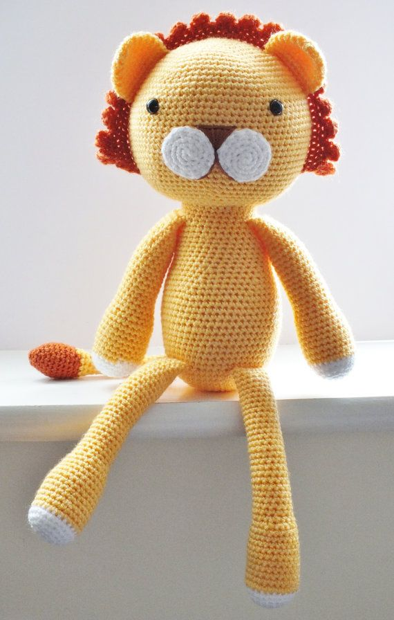 **PLEASE NOTE THIS LISTING IS FOR CROCHET PATTERN NOT ACTUAL TOY**     Amigurumi crochet pattern    This Adorable lion is my own design, when finished he measures approx 18 tall ( when using D.K yarn and 3.5mm hook)    The pattern is quite straight forward I recommend it as an intermediate/advanced beginner pattern. The instructions are very detailed and easy to follow if you know the basic stitches and techniques used to make amigurumi . The PDF file includes over 50 pictures to help yo...