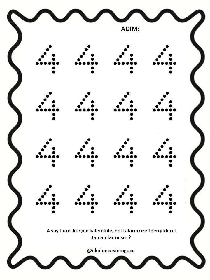 4 Sayisi Tamamlama Ogrenme Anaokulu Matematigi Matematik