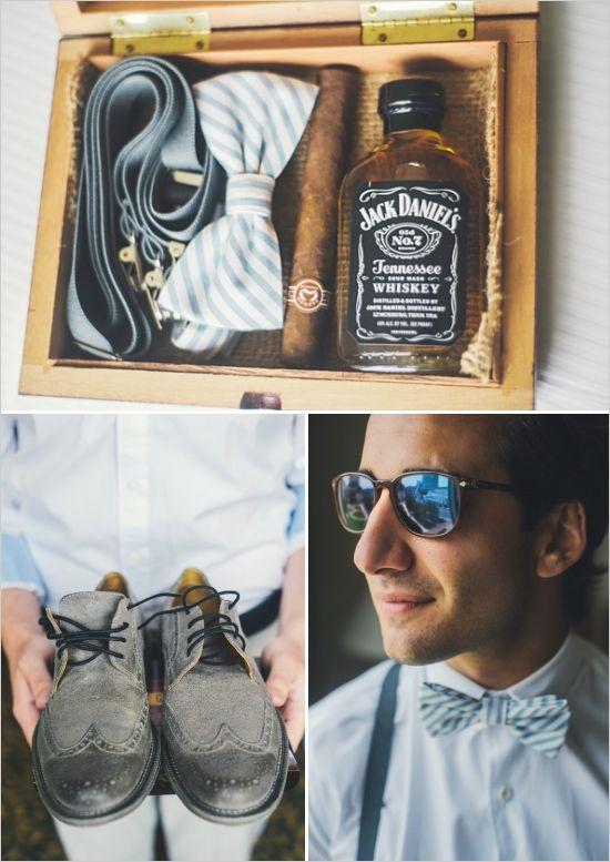 fun groomsman gifts http://www.weddingchicks.com/2013/11/26/gold-and-gray-wedding/