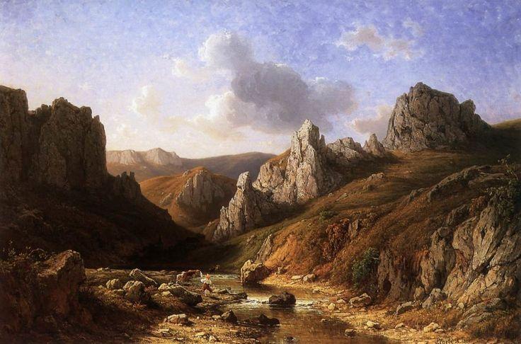 Romantique Paysage Waterside avec des figures de Antal Ligeti (1823-1890, Romania)
