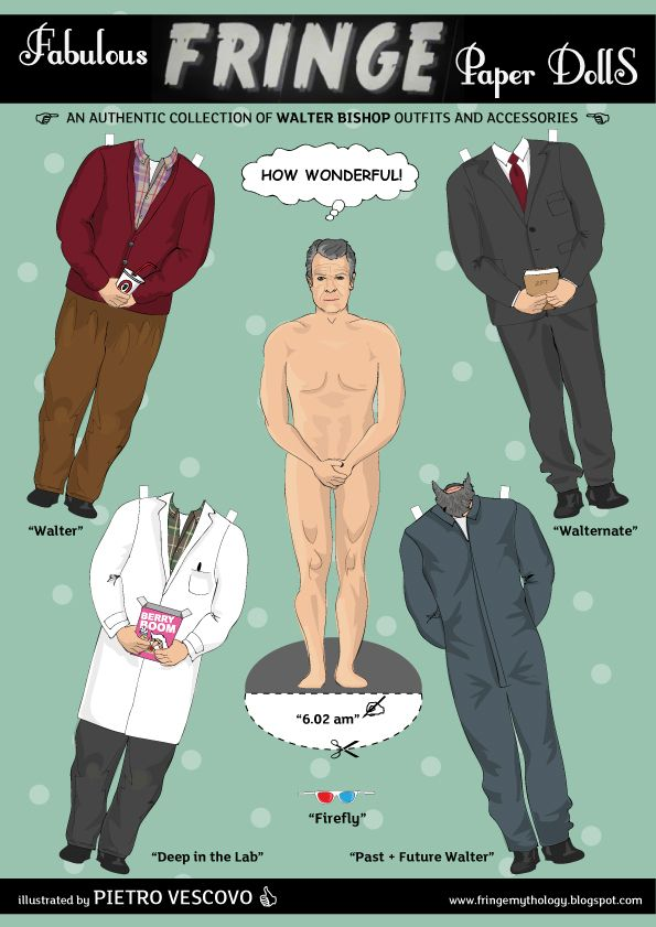 Paper doll Walter from Fringe Mythology