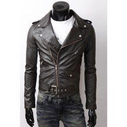 $30.67 Cool Style Turndown Collar Short Leather Zipper Coat For Men
