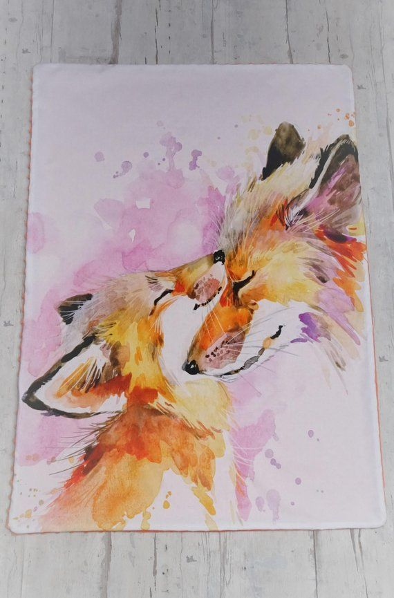 Personalized fox blanket baby shower gift for girl, Custom bedding with foxes, Woodland receiving blanket, Snuggle minky and cotton blanket