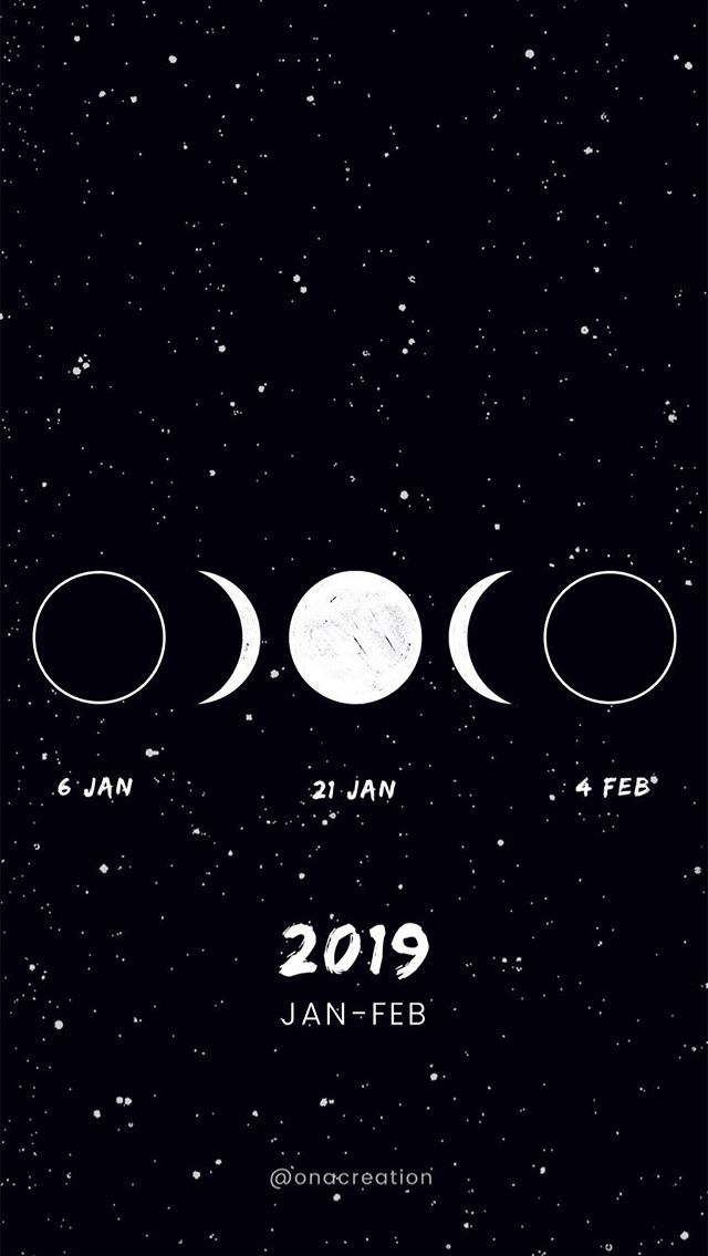Moon Calendar January 2019 Lunar Phases Wallpaper Smartphone