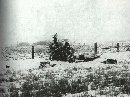 """""""The day the music died"""" - This is the scene of the crash that took the lives of Buddy Holly, Richie Valens, Big Bopper and their pilot on February 3, 1959 in Albert Juhl's corn field about fifteen miles northwest of Mason City in Cerro Gordo County, Iowa. [Plane crash photo, on Fuller Up, The Dead Musician Directory]"""