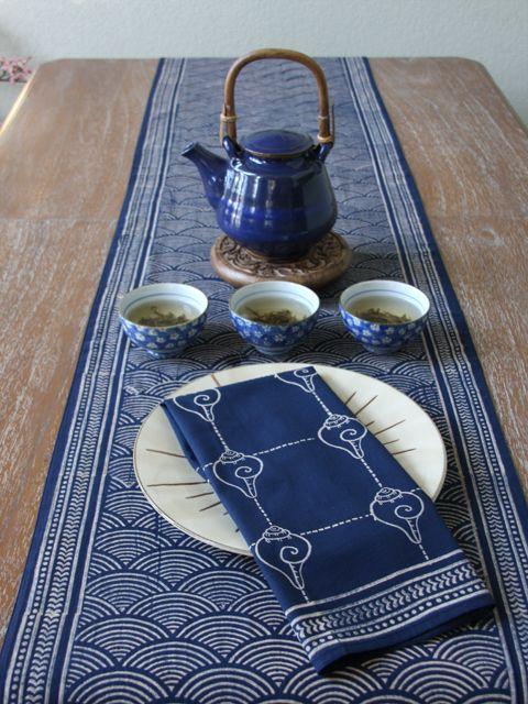 Pacific Blue ~ Rustic Navy Blue Ocean Oriental Asian Napkins