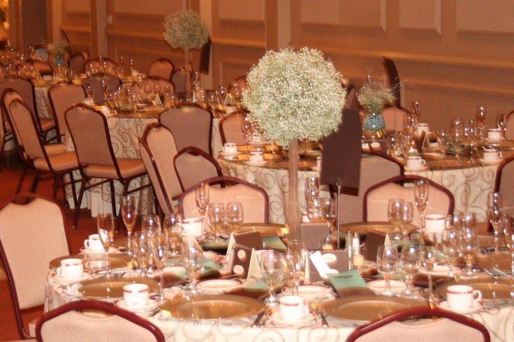 Tall baby s breath ball centerpiece floral centerpieces
