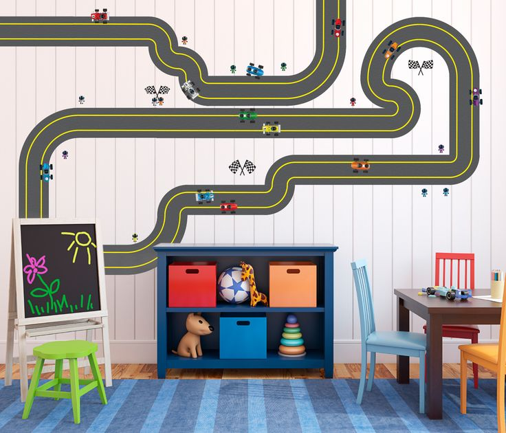 Lil' Cloud Designs <strong>Do You Want to Race - Removable Race Track, Cars, Drivers, and Flags</strong> set. Fun race set for any room of your choice. Removable durable adhesive. Set comes with 15 Straight Tracks, 12 Small Curve Tracks, 5 Large Curve Tracks, 12 colorful race cars, 14 race car drivers, and 3 flag sets - Enough to cover a wall or two in any room of your choice. Purchase comes with print as shown in photo. Measurement of one straight track is 5 and 1/2 inches wide by 12 and…