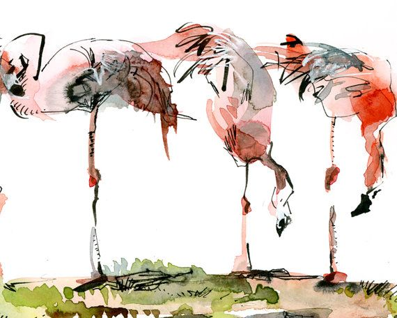 Flamingo watercolor sketch  print from an original by SketchAway