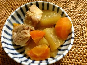 圧力鍋で簡単!鶏モモ肉と大根と人参の煮物